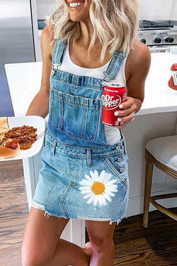 Flower Print Classic Denim Mini Dress