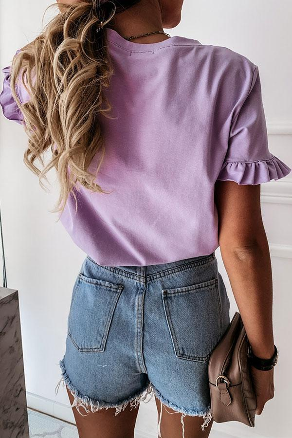 Solid Color Flounce Sleeve Sweet T-Shirt