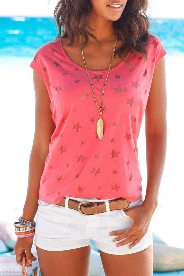 Solid Color Star Print Sweet T-Shirt