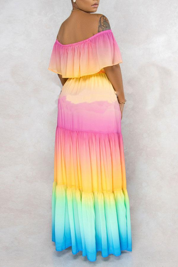 Rainbow Gradient Off Shoulder Layered Feminine Maxi Dress