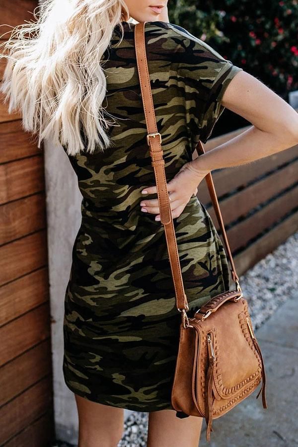 Camouflage Belt Classic Mini Dress