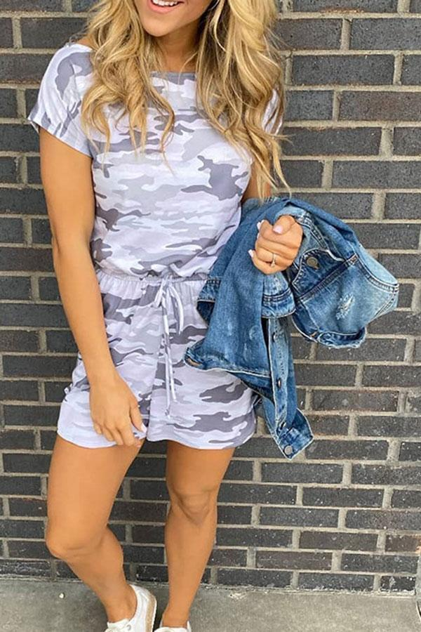 Camouflage Drawstring Classic Romper
