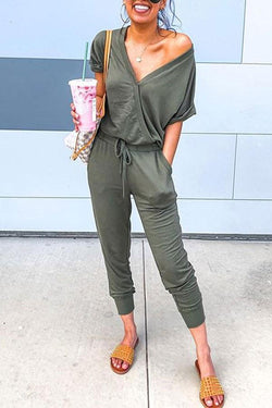 Plain Casual Front Wrap Jumpsuit