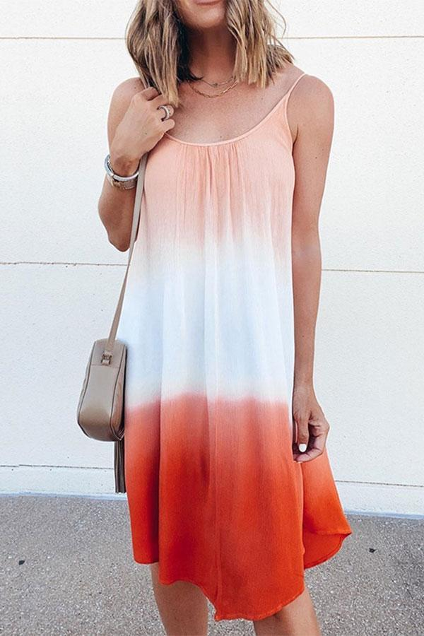 Color Block Colorful Layered Midi Dress