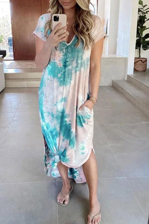Tie Dye Modern Pockets Irregular Maxi Dress