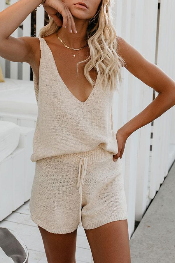 Solid Color Beachy Cutout Pants Suit