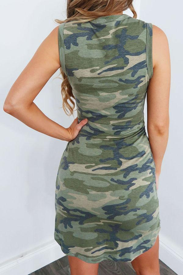 Camouflage Classic Knotted Mini Dress
