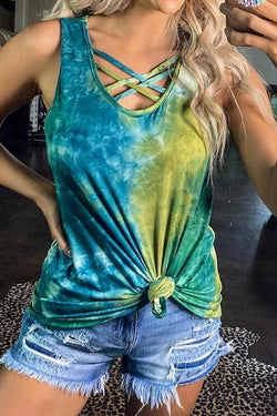 Tie Dye Lace-Up Classic Vest