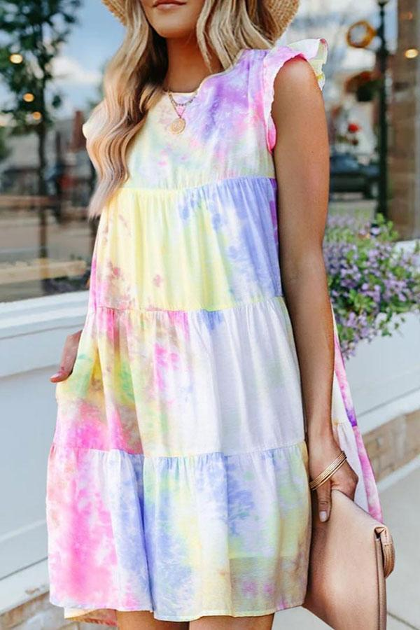 Tie Dye Sweet Layered Ruffles Swing Mini Dress