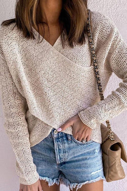 Apricot V Neck Chic Irregular Sweater