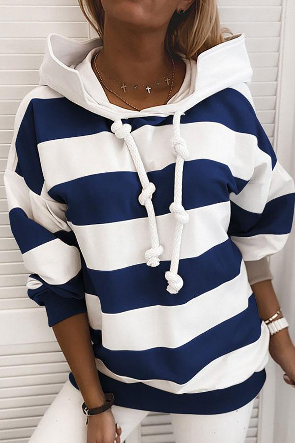 Striped Modern Hooded Top