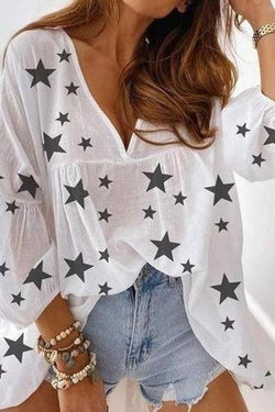 Star Print Girly Layered Ruffles T-Shirt