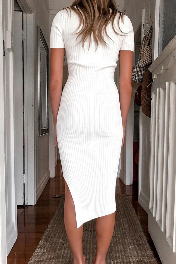 Solid Color Elegant Irregular Midi Dress