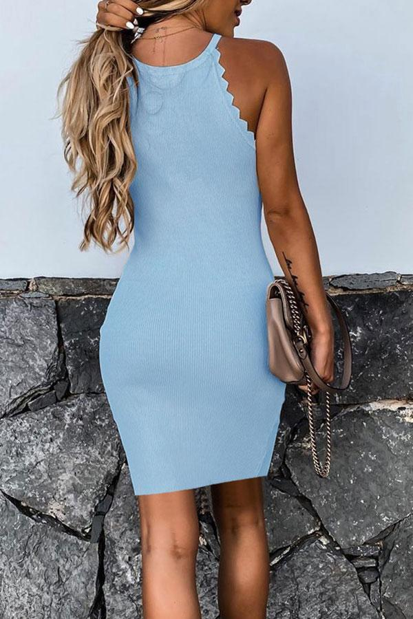 Solid Color Serrated Classic Mini Dress