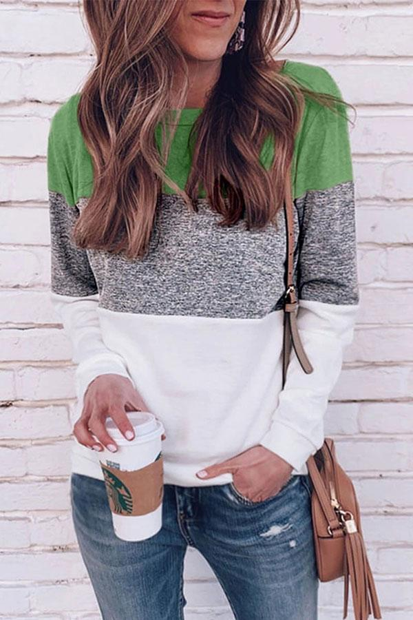 Color Block Round Neck Casual Blouse