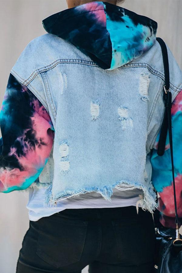 Tie Dye Pacthwork On-trend Rips Demin Coat