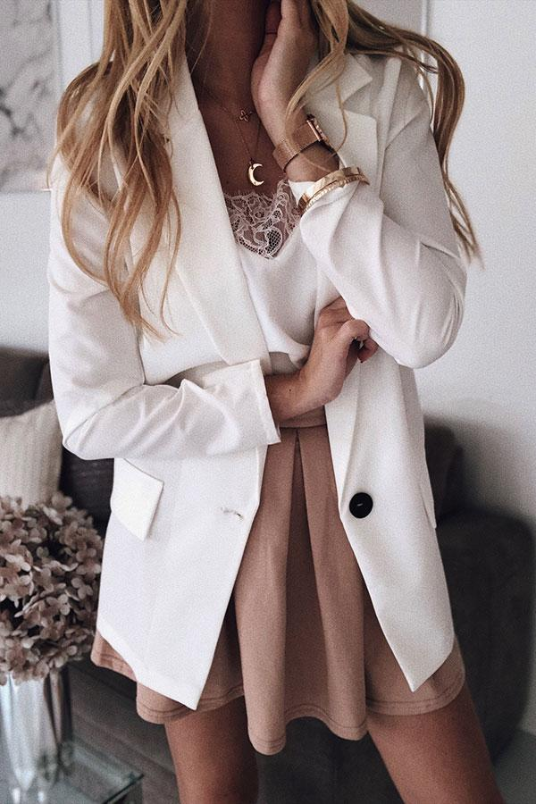Solid Color Elegant Button Thru Coat