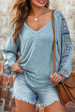 Tribal Print V Neck Classic Blouse