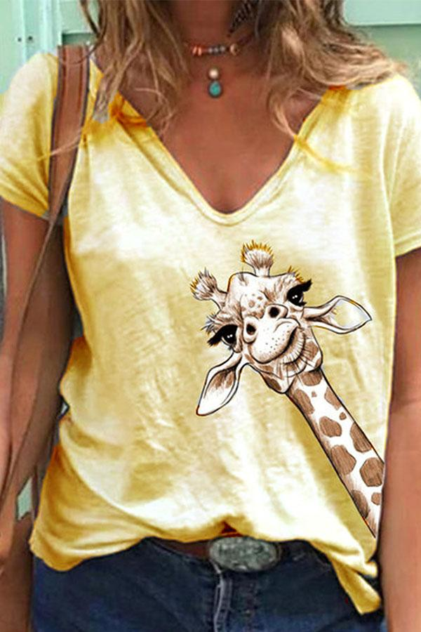 Giraffe Print V Neck Casual T Shirt