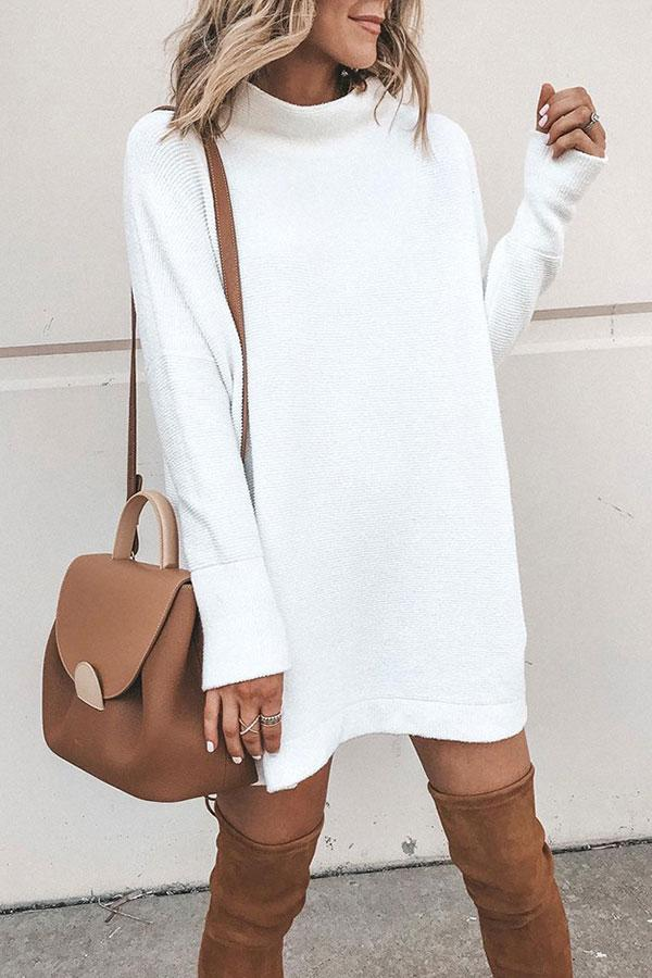 Solid Color Classic Sweater Mini Dress
