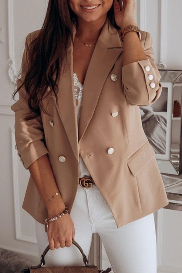 Solid Color Modern Buttons Coat