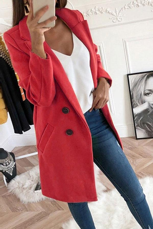 Solid Color Feminine Buttons Overcoat
