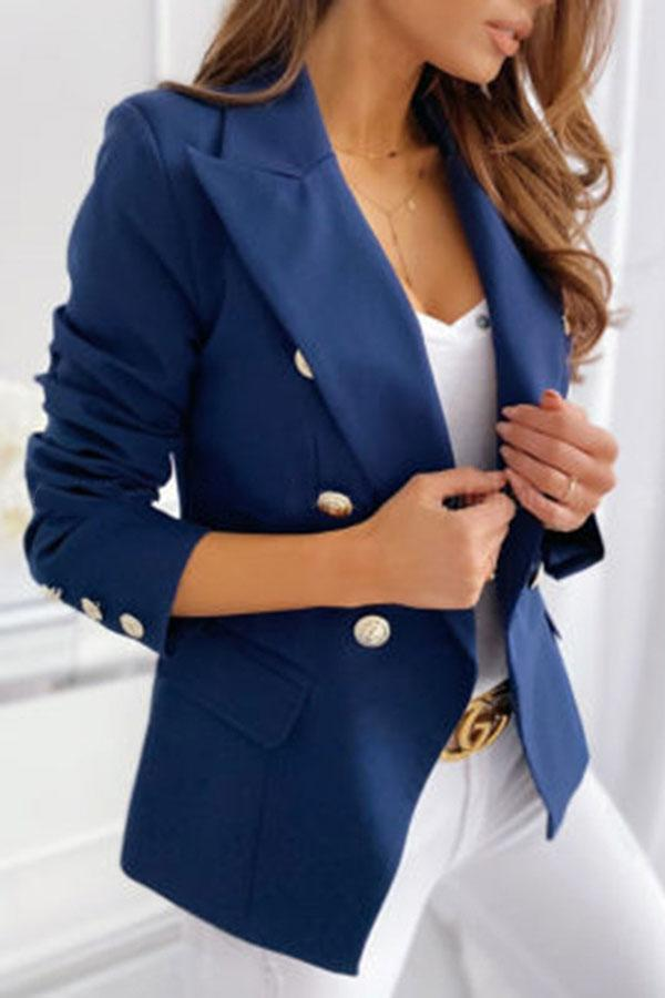 Solid Color Stylish Double Breasted Coat