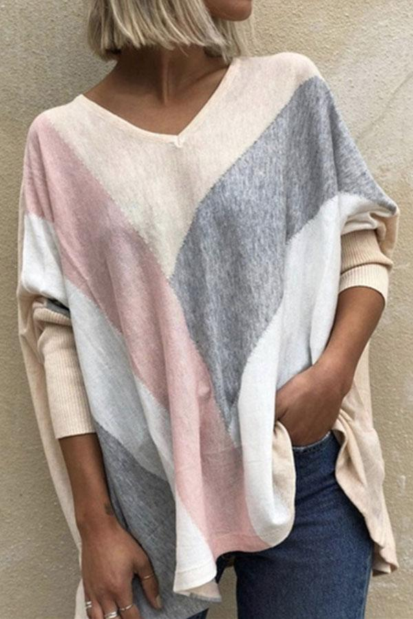 Striped V Neck Simple Loose Blouse