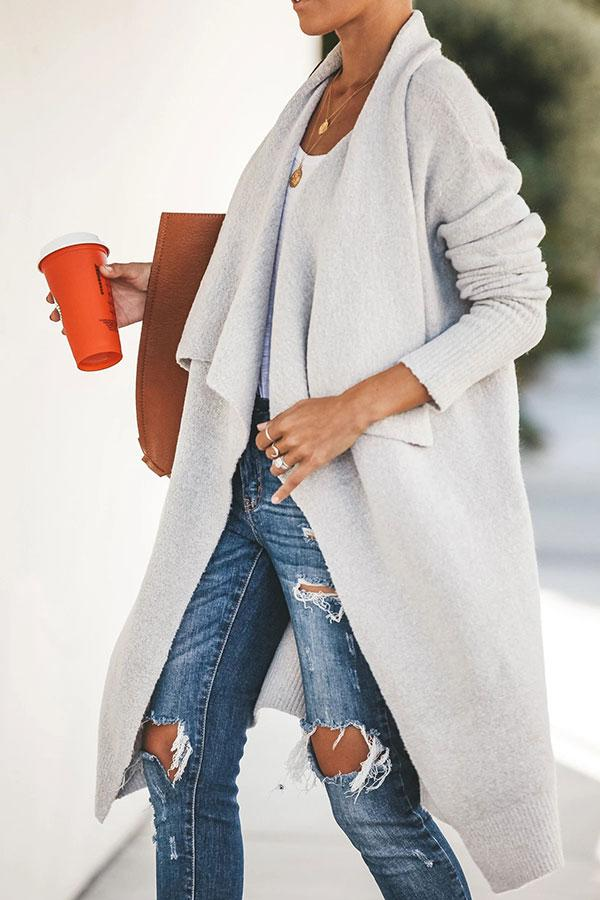 Solid Color On-trend Lapel Long Knitted Coat