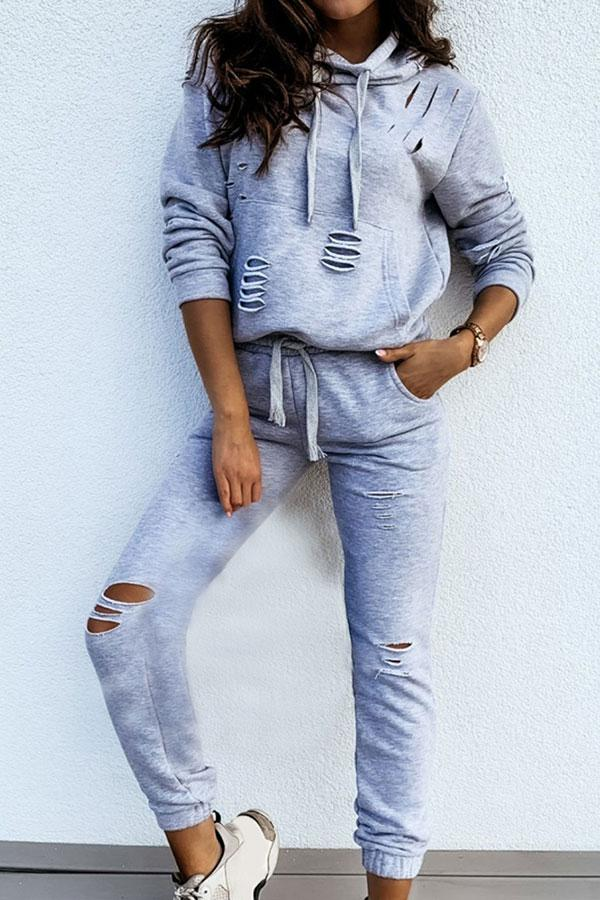 Solid Color Casual Burnt-Out Hoodie & Pants Suit