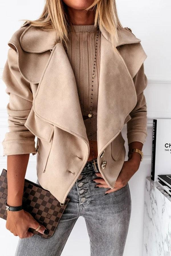 Solid Color Turn-Down Collar Sweet Jacket