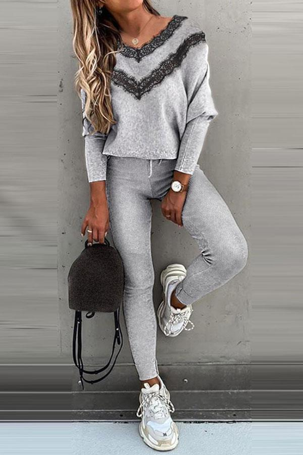 Solid Color Feminine Drawstring Pants Suit