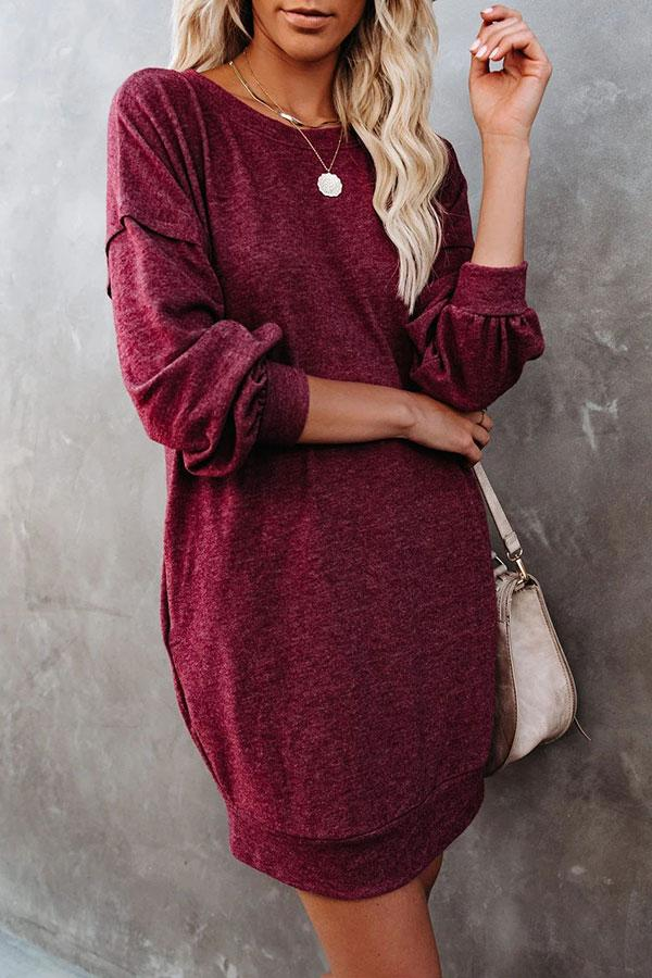 Solid Color Round Neck Simple Mini Dress