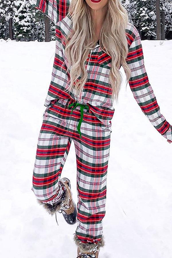 Tartan Relaxed Single Breasted Pants Suit