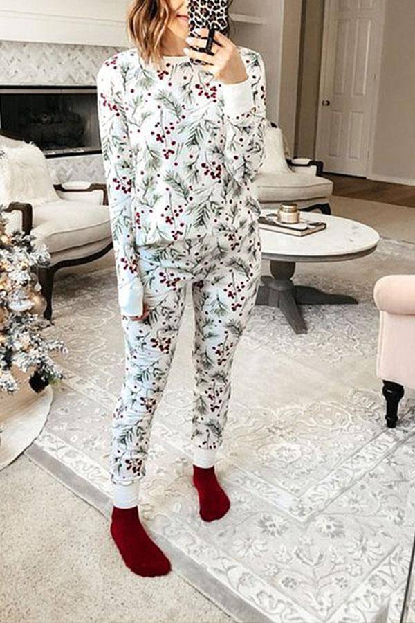 Natural Print Relaxed Pants Suit