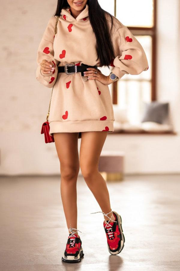 Hearts Print Sweet Hooded Mini Dress