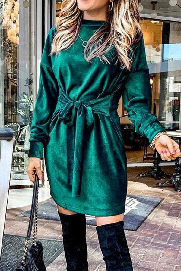 Solid Color Elegant Strappy Mini Dress
