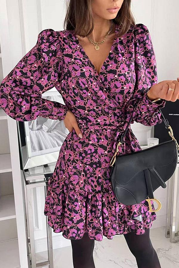 Floral Print Pretty Pleated V Neck Mini Dress