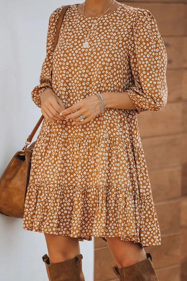 Floral Print Sweet Pleated Mini Dress