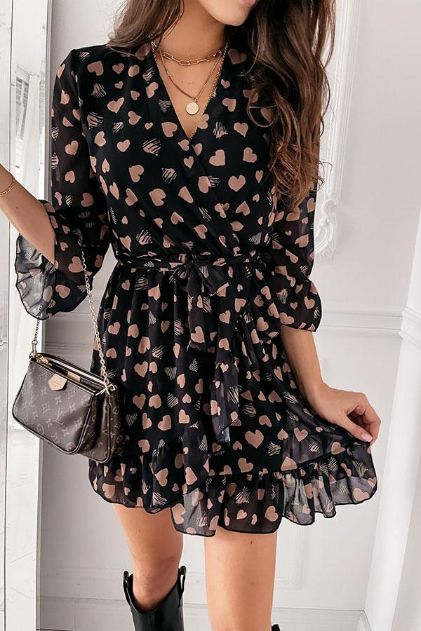 Hearts Print Sweet Strappy V Neck Mini Dress