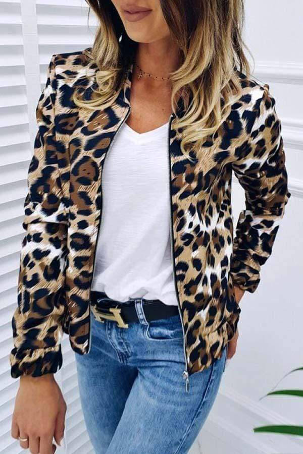 Leopard Print Casual Coat