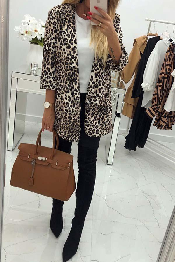 Lapel Leopard Slim Coat