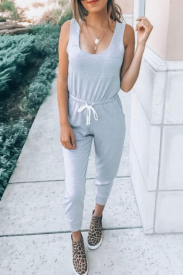 Casual Solid Color Jumpsuit