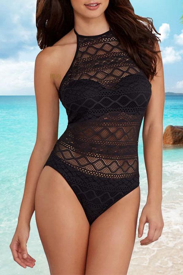 Solid Color Lace One Piece Swimwear
