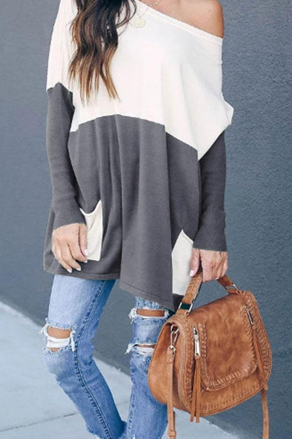Casual  Color Block  Blouse