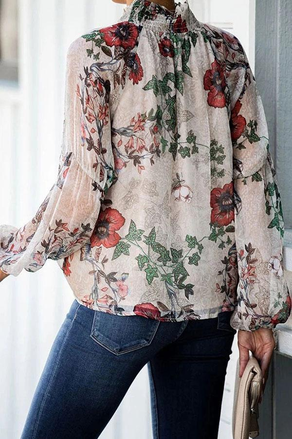 Loose Long Sleeve Printed Chiffon Blouse