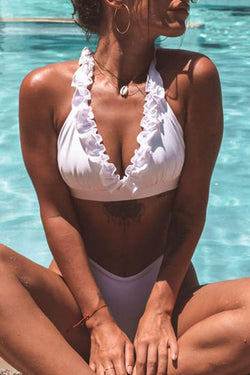 Modern Scalloped Solid Color Bikini