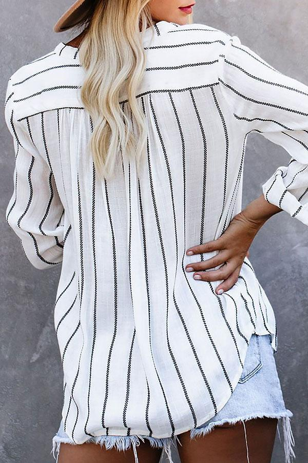 Casual V-Neck Striped Blouse