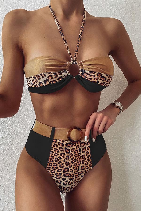 Leopard Print Color Block Bikini With Belt