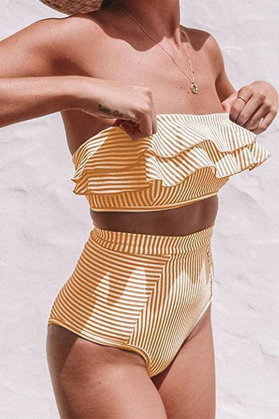 High-Waist Striped Ruffle Bikini Set